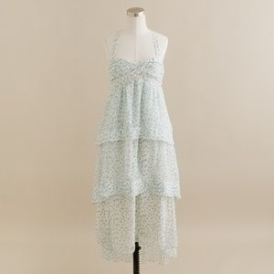J.CREW Tiered Floral Trellis Silk Midi Dress